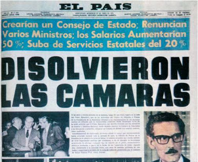 Portada del diario El País de Montevideo del 27 de junio de 1973