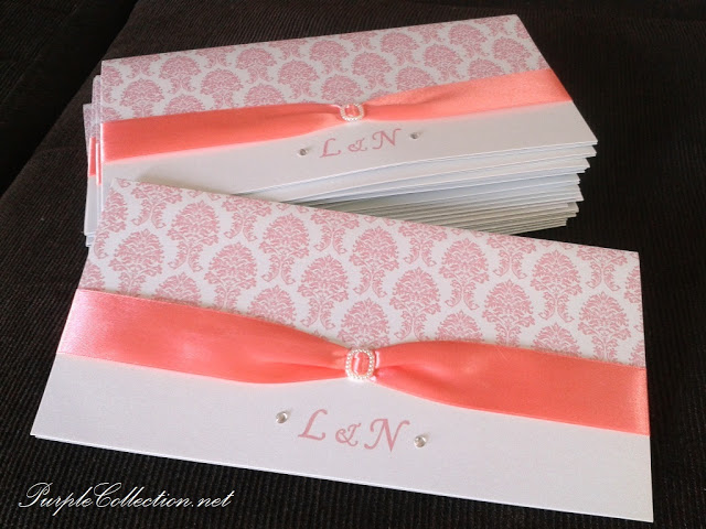 Peach Damask Wedding Invitation Card, Peach Damask, Peach, Damask, L&amp;N, Wedding, Invitation Card, Wedding Invitation Card, Card, Marriage, One Fold, Pearl White Card