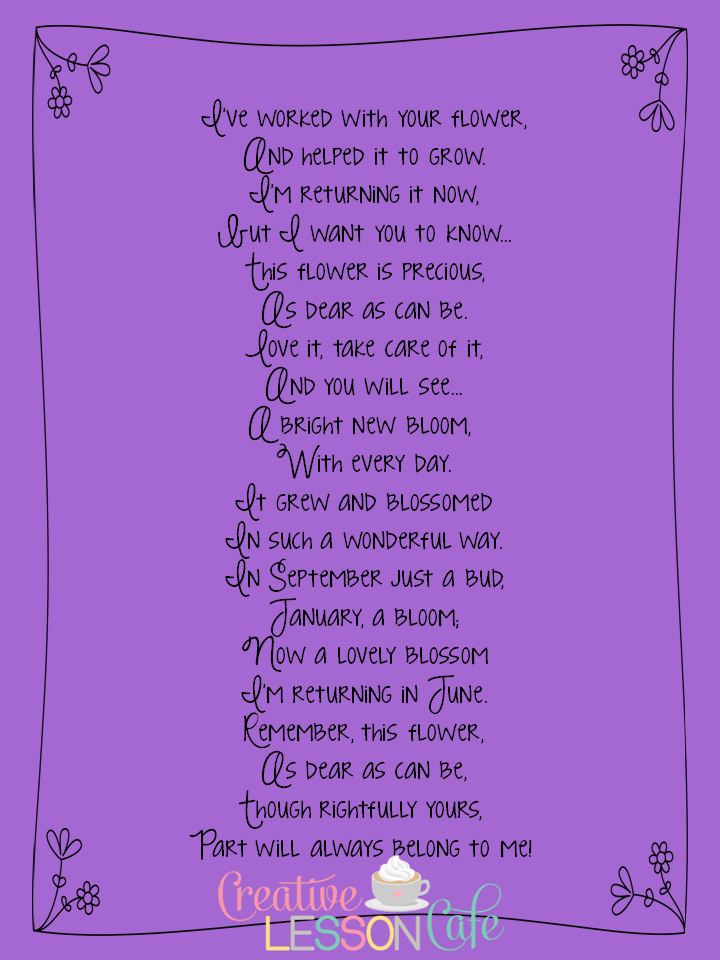 Creative Lesson Cafe: End of the Year Poem to Parents