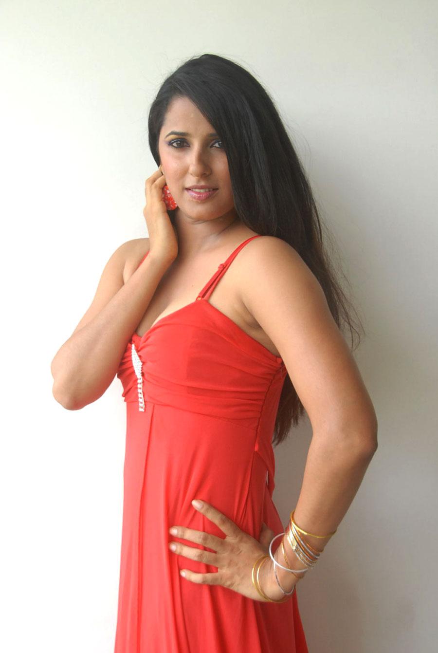 beautiful Shravya reddy in red dress hot photos gallery