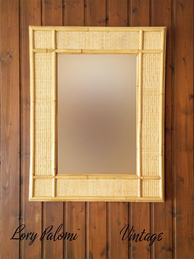 Lorypalomi espejo pared rectangular ca a de mimbre ratan for Espejo rectangular pared