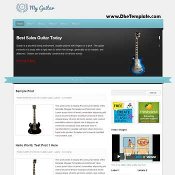 My Guitar Blogger Template. blogger template for music blog. image slidesow blogger template