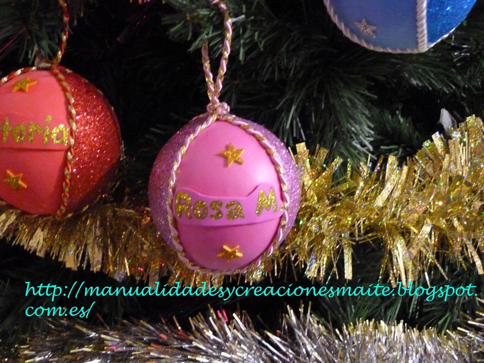 Fofuchas manualidades y creaciones maite bolas navidad - Bolas de cristal personalizadas ...