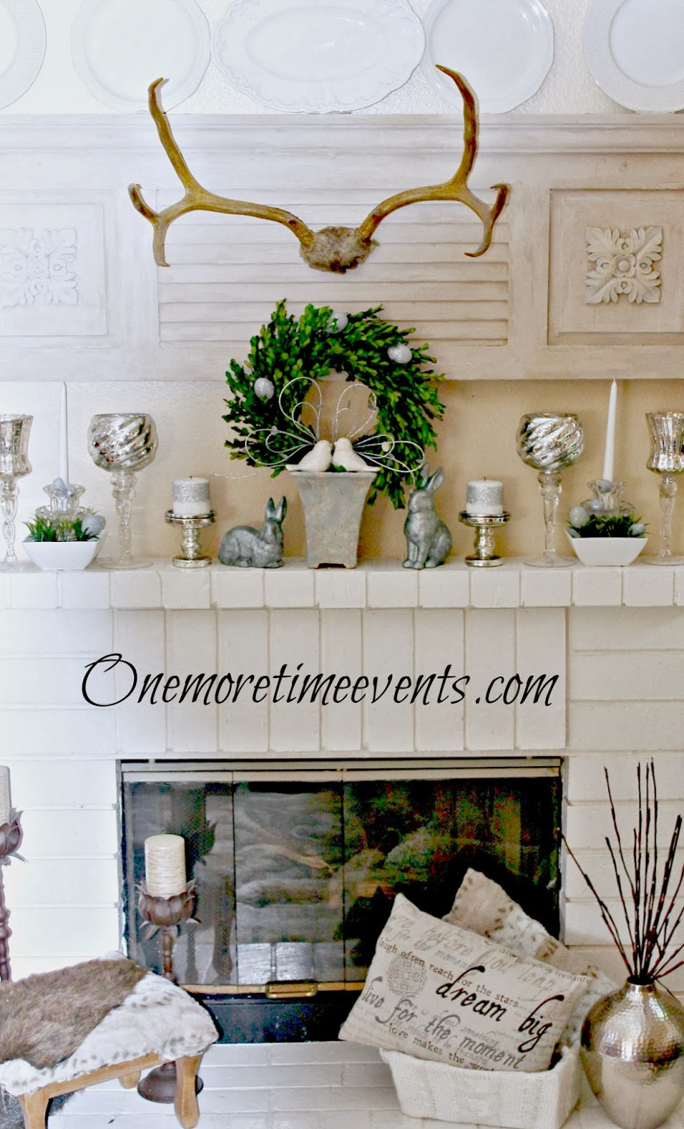 Spring mantel with a bit of Winter at One More Time Events.com