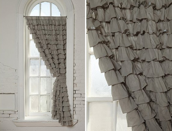 These gorgeous gray ruffle curtains can be found at Urban Outfitters ...