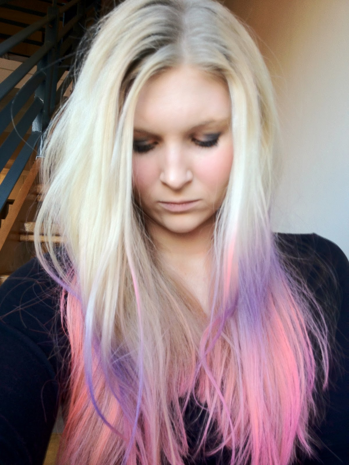 Pink Orange And Purple Ombre Balayage Hair With Kevin Murphy