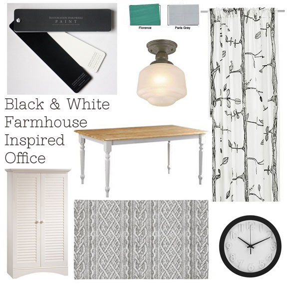 Interior Designed Black and White Farmhouse Inspired Office Moodboard