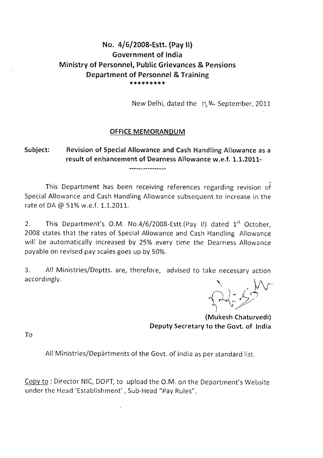 satishk everything under the sky revision of special allowance and cash handling allowance as a result of enhancement of da w e f 1 1 2011