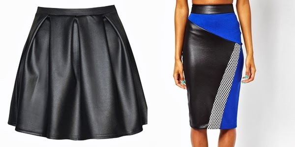 leather look skater skirt, leather look body con skirt, leather look pencil skirt, leather trend