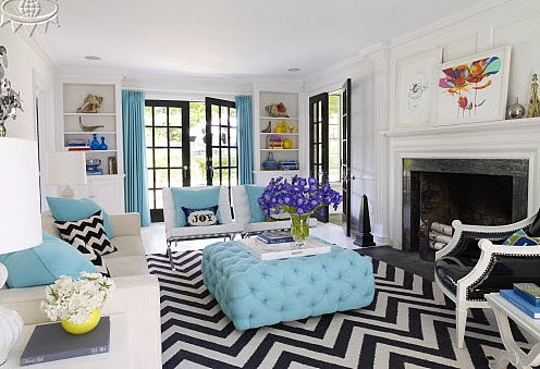 I Love Black And White Chevron With Turquoise On