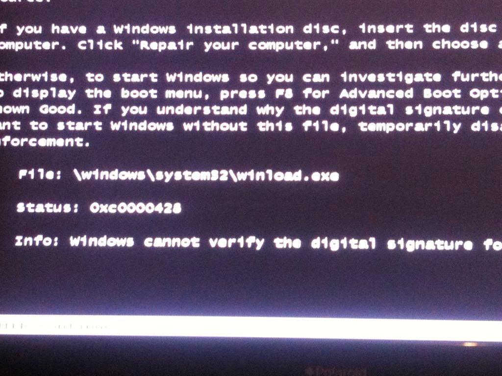 Winload.exe error (0xc0000428) - How to fix
