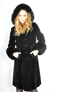 Vintage 1970's black shearling princess coat with large hood.