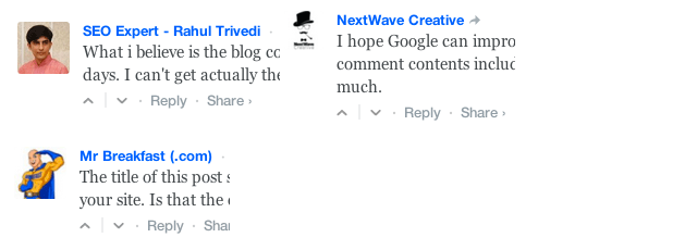 Keyword and Site Name Comments