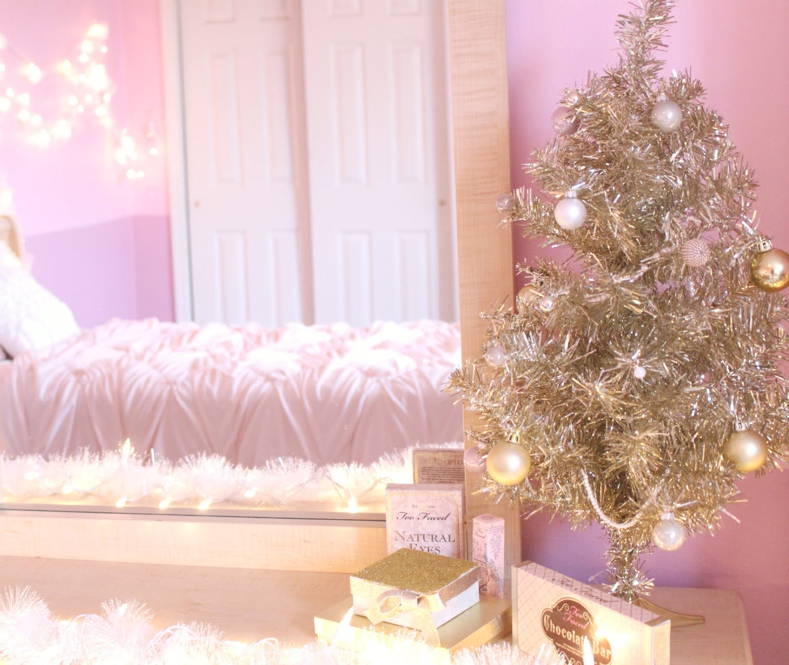 the last little section of my room i decorated is my favorite displaying my little gold christmas tree i bought this tree at target and i love it - Light Pink Christmas Tree