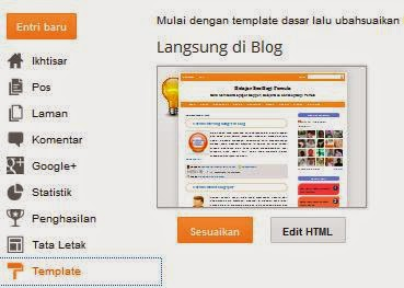 Cara Setting Template di Blogger