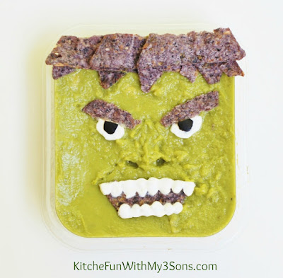 HULKamole using Wholly Guacamole & The Avengers Party from KitchenFunWithMy3Sons.com