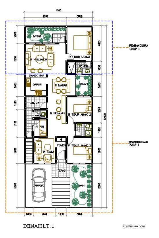 desain denah rumah mewah 1 lantai