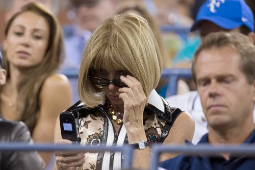 Anna Wintour still on the phone with stick