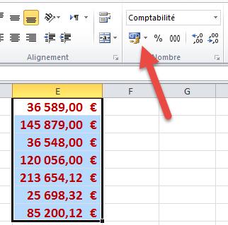 Bouton format comptabilité