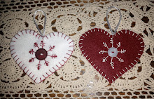 RED AND WHITE STITCHED HANGING HEARTS