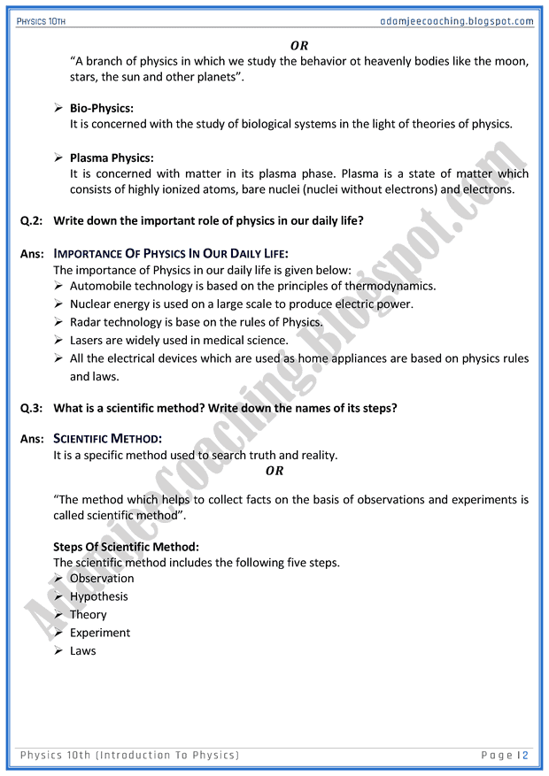 introduction-to-physics-question-answers-physics-10th