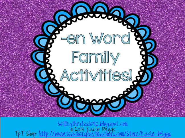 http://www.teacherspayteachers.com/Product/-en-Word-Family-Activities-1102399