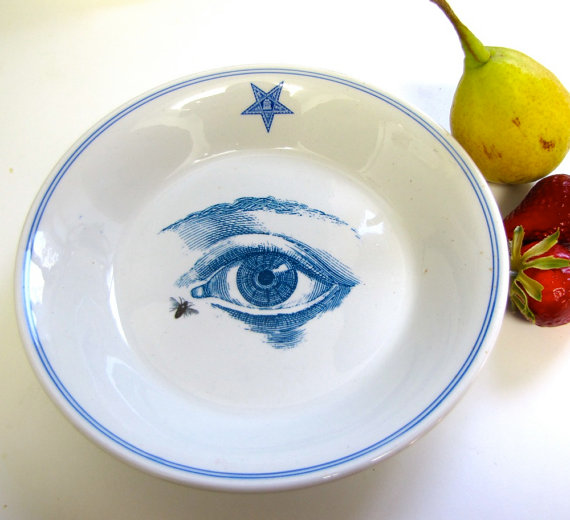 ... slightly eerie Masonic Lodge Plate with Altered Anatomical Eye Image