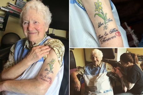 Njrocksnaija 94 year old great grandma tattoos her arm for Tattoos for older adults