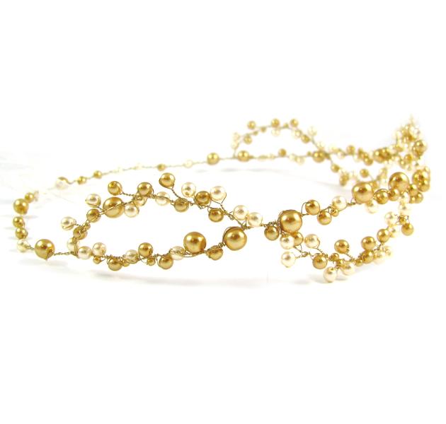 Ślubny wianek do włosów ze złotych pereł
