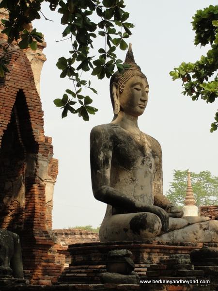 Buddha statue at Wat Phra Mahathat at Ayutthaya Historical Park in Thailand