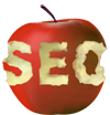 SEO logo in apple bites