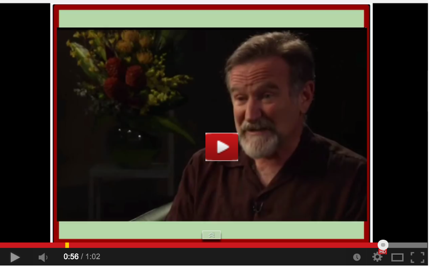 Robin Williams Suicide leads to message of hope for Zelda Click to watch on YouTube