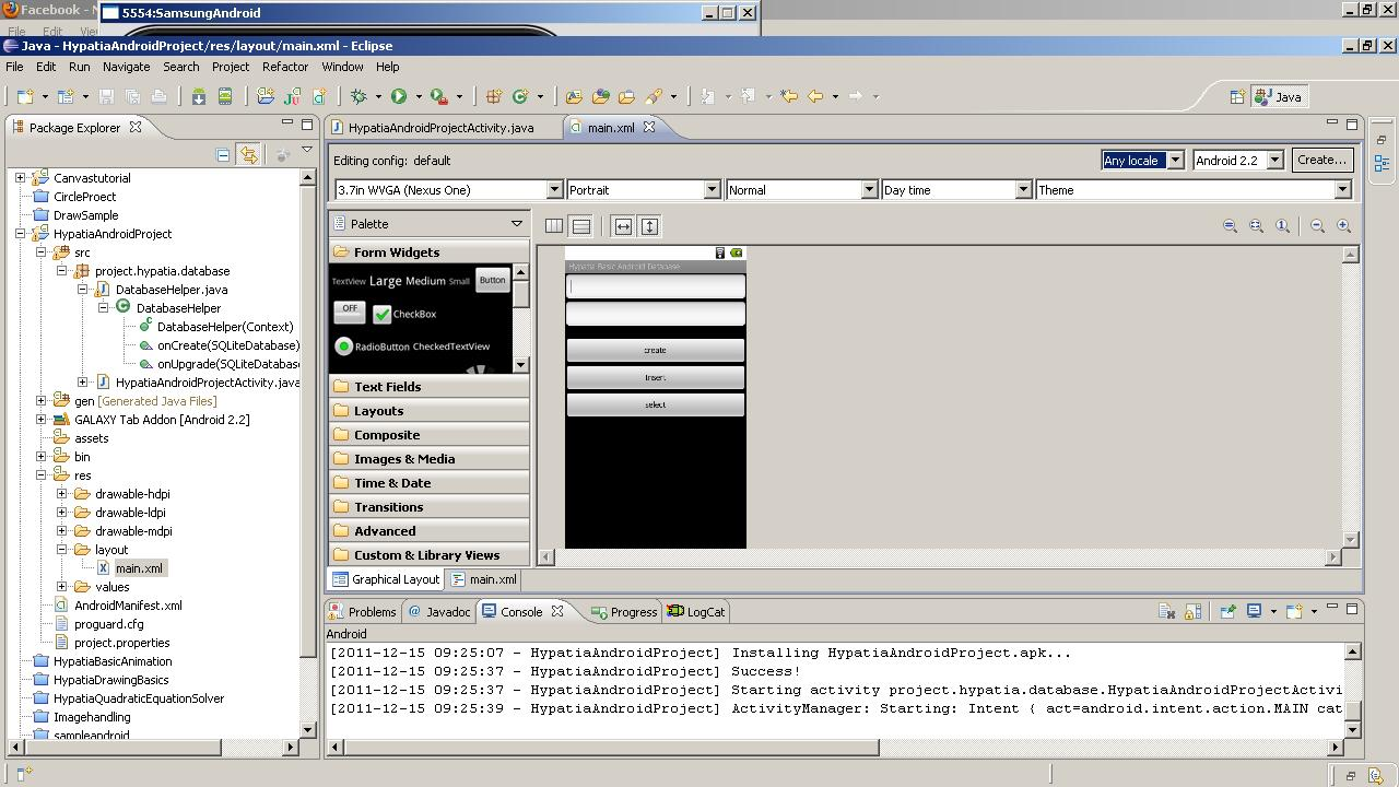 how to create database in android application with example