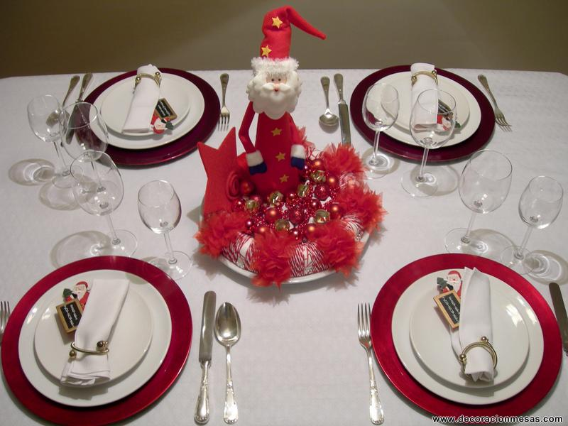 Decoracion de mesas mesa navidad de papa noel for Mesas decoradas para navidad
