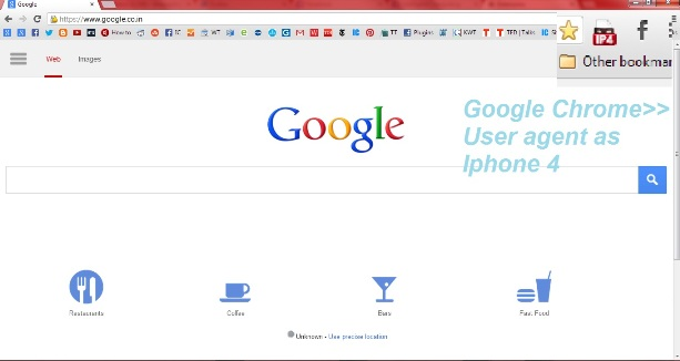 Scrrenshot of Google on iPhone 4 Look on Google chrome