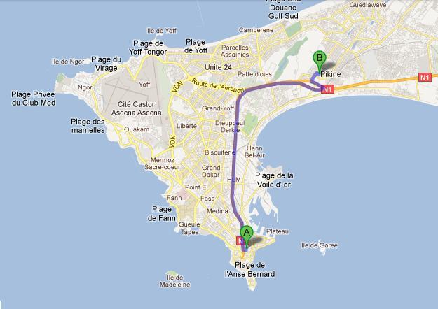 A Year In Dakar September - Pikine map