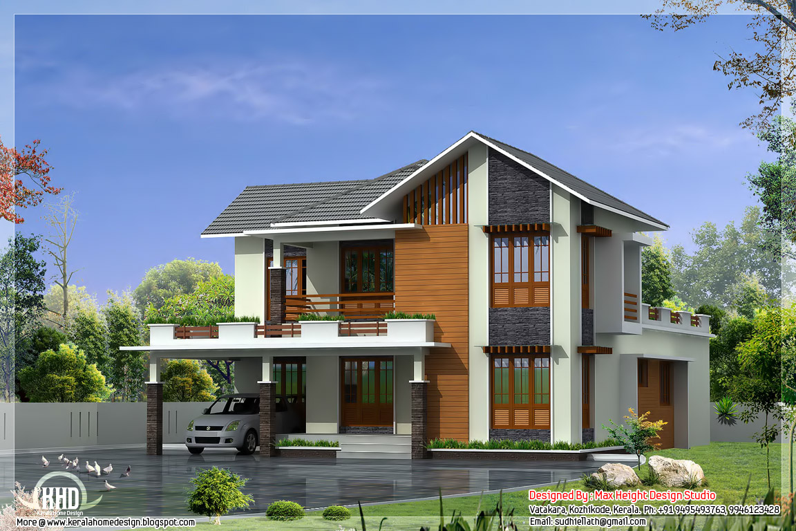 2950 sq.ft., 4 bedroom villa elevation design