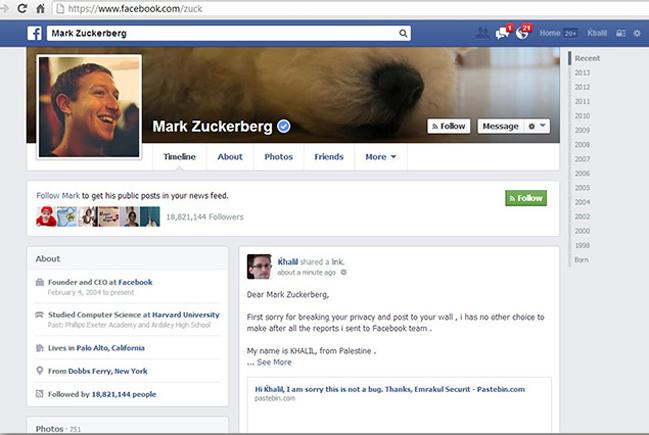 Hacker invade página de Zuckerberg para provar falha no Facebook