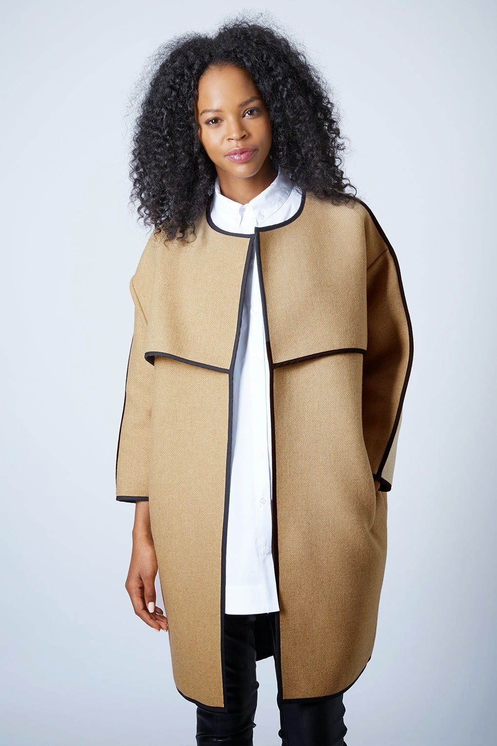 Collarless blanket coat