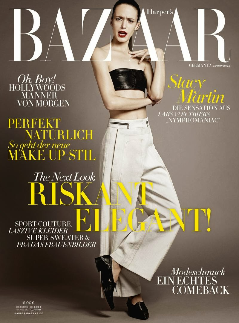 Magazine Cover : Stacy Martin Magazine Photoshoot Pics on Harper's Bazaar Magazine Germany February 2014 Issue