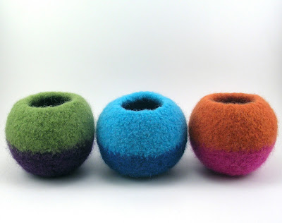 three felted wool bubble bowls