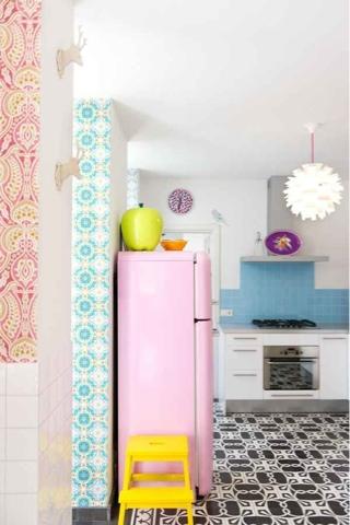 Kuchnia i jadalnie, nowoczesna, modern, biel, kolor, styl skandynawski, kolorowa, w kolorze, colorful, kitchen,