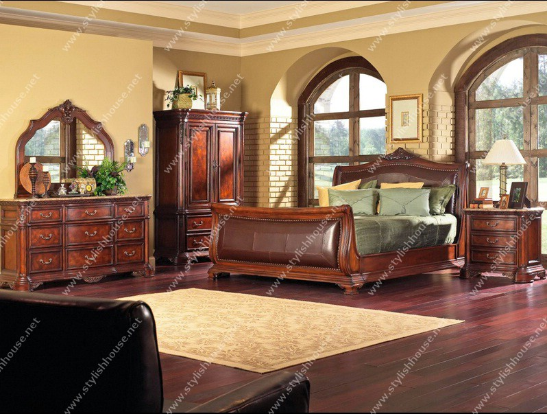 Home Design: Classic American style brown bedroom furniture set