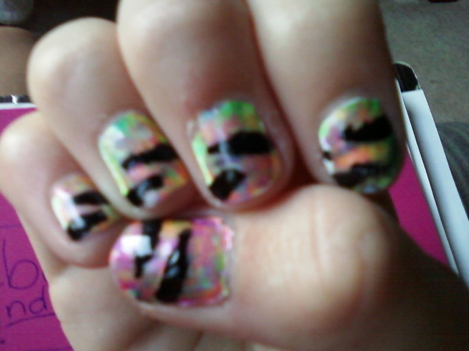 Abbys Nail Designs Tie Dye With Zebra Stripes