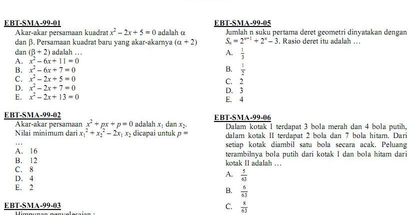 Matematika Di Sma Soal Ujian Nasional Matematika Ipa Sma Ma 1999