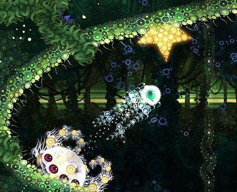 Deep Under the Sky: Green botanical world. Yellow star and other worldly creatures.