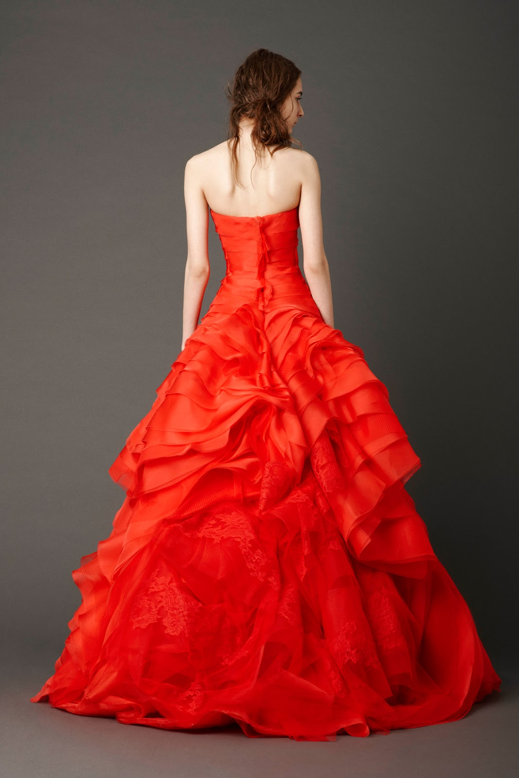 All for weddings a red vera wang bias tiers tulle wedding for All red wedding dresses