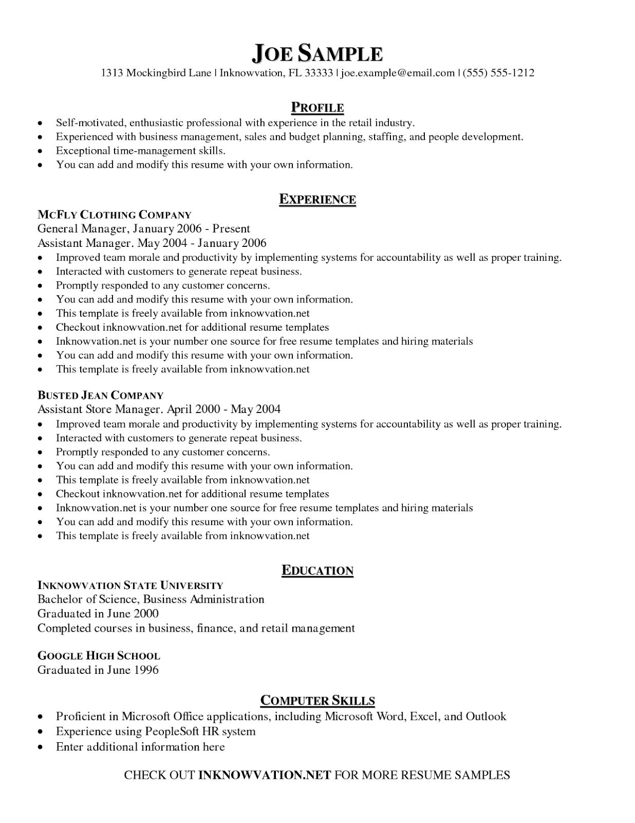 example of graduate school resume