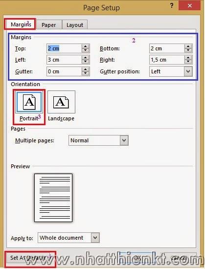 Hướng dẫn căn lề chuẩn theo Thông tư 01/2011/TT-BNV