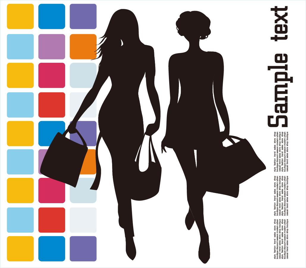 買い物を楽しむ女性のシルエット Fashion Shopping Vector Illustration イラスト素材